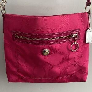 Coach Crossbody in Pink canvas w/leather trim EUC